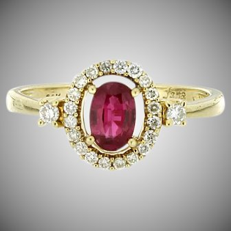 Modern Estate 14K Ruby & Diamond Ring