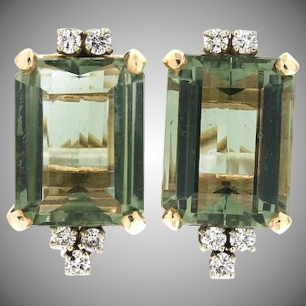 Modern Estate 14K Beryl & Diamond Earrings