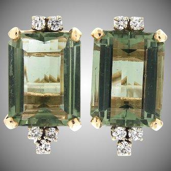 Modern Estate 14K Beryl & Diamond Earrings