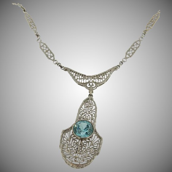 Bracelets The Deco Haus Tagged Gold: Art Deco 14K White Gold Filigree & Blue Zircon Necklace