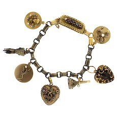 Victorian 14K, 15K & 18K Yellow Gold & Multi Gemstone Charm Bracelet