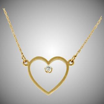Modern Estate 14K Diamond Heart Necklace