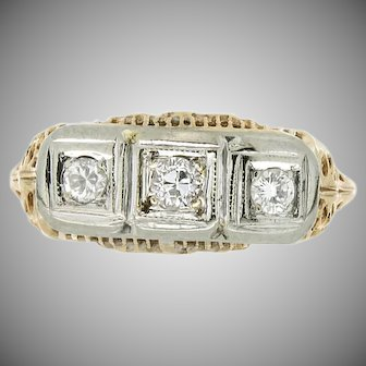 Art Deco 14K Three Stone Diamond Ring