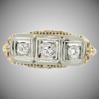 Art Deco 14K Three Stone Diamond Ring