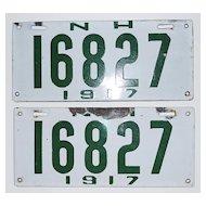 Pair of 1917 New Hampshire Enamel License Plates, Vintage
