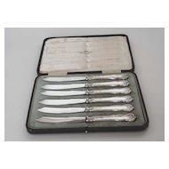 Antique Set of Six (6) Sterling Silver Fruit Knives, Walker & Hall, English