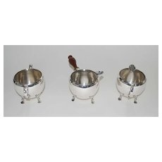 Moss Sterling Silver 3 Piece Set, Creamer-Sugar-Warm Milk, Vintage