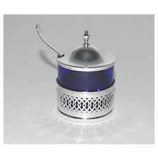 Mustard Pot, Cobalt Liner, Sterling Silver Holder & Cover, Webster Co., Vintage