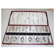 Vintage Sterling Silver Tea Forks and Spoons, Service for Six (6), Hong Kong