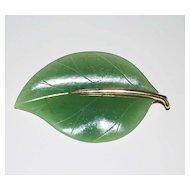 Vintage 14K Gold and Jade Leaf Pin