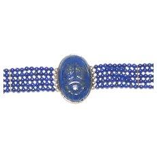 Vintage Lapis-Scarab Bracelet; Gold Wash Over Silver