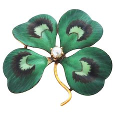 Vintage 14K Gold Hand Painted Clover Pin/Pendant