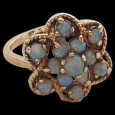 Vintage Gold and Fire Opal Cluster Ring