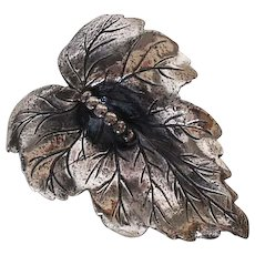 Vintage Sterling Silver Leaf Pin-Jewelry Art