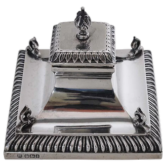Antique Sterling Silver Inkwell-Sheffield