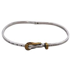"""Vintage Sterling Silver and 18K Gold """"Belt"""" Bracelet-Mexico"""