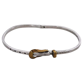 "Vintage Sterling Silver and 18K Gold ""Belt"" Bracelet-Mexico"
