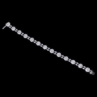 Vintage 14K White Gold and Diamond Bracelet