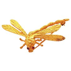 Vintage Dragonfly Pin, 18K Gold