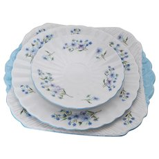 Vintage Shelley Four Piece, Blue Rock