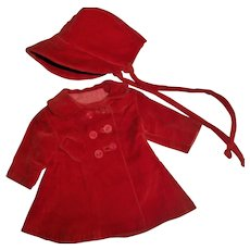 """Nice Red Velveteen Coat and Bonnet~Hat  For 14"""" Ideal P-90 Toni & Friends"""
