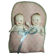 Vintage Twins Jointed Bisque Baby Dolls In Original Wool Bunting