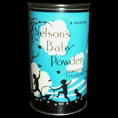 Vintage 4oz Nelson Baby Talc Powder~Great Graphics!!!~MINT!!