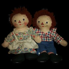Vintage Charming Pair of Tagged Georgene Raggedy Ann and Andy Dolls