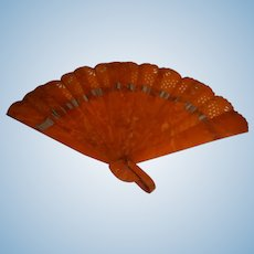 Vintage Fan Marbled Orange Plastic or Celluloid Great Halloween Prop