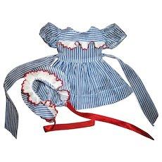 """Original Effanbee 17""""Patsy Joan Striped Dress & Bonnet Set"""