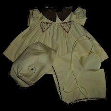 Vintage 1930s Tagged Molly'es Shirley Temple Dress Set~Dress~Romper~Hat Set