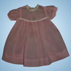 """Vintage MINT!! Pink Windowpane Organdy Effanbee 20"""" Dy-Dee Lou Dress~PERFECT!!"""