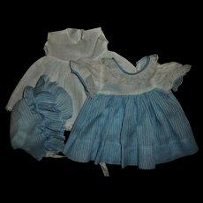 "Vintage Original Effanbee 15"" Dy-Dee Blue Dimity Dress~Bonnet~Slip Set"
