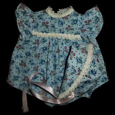 """Vintage Cute Flowered Romper With Matching Bonnet For 13"""" Dy-Dee or Others"""