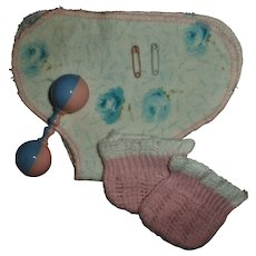"""Vintage American Character 11""""Tiny Tears Flower Print Flannel Diaper~Knit Booties~Pins and Rattle"""
