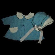"""Rare Size!!  Vintage 11"""" Tiny Tears Blue Felt Coat and Bonnet  MINT!"""