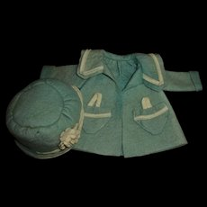 Vintage Adorable Felt Coat and Cloche Hat For Patsy Dolls