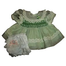 "Lovely Smocked Voile 11"" Tiny Tears & Friends Party Dress With Ruffled Nylon Panties"