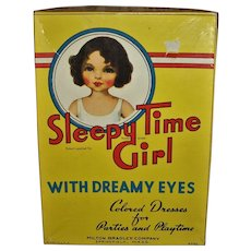 Vintage Milton Bradly 1930s~ SLEEPY TIME GIRL~Dolls Eyes Open & Close~Boxed Paper Doll Set