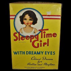Vintage Milton Bradly 1930s~ SLEEPY TIME GIRL~Dolls Eyes Open & Close~Boxed Paper Doll Set
