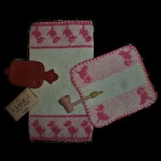 Vintage 1930s Effanbee Dy-Dee Doll Washcloth~Towel~Wood Bubble Pipe~Soap~Hot Water Bottle