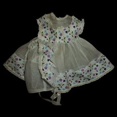 "Vintage Factory Organdy & Purple Ladybugs With Flowers  15"" Betsy Wetsy, Tiny Tears Dress & Bonnet Set"