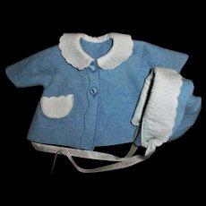"Original AC 11""Tiny Tears Blue and White Felt Hat and Bonnet Set~HTF~Adorable On!"