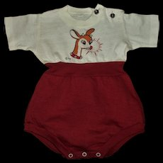 "MINT!!Adorable Vintage 50's ""Rudolph The Red Nosed Reindeer"" Christmas Romper For Large Realistic Size Baby Dolls"