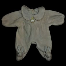 """Cute Factory Pink Terry Bunny Footed Sleeper For 11"""" Baby Dolls"""