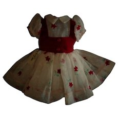 """Vintage 17"""" Tagged Shirley Temple Ideal Flocked Tulip Dress HTF"""