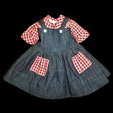 "Vintage 17"" Ideal Shirley Temple Denim & Gingham Rebecca of Sunnybrook Farm Dress MINT!"