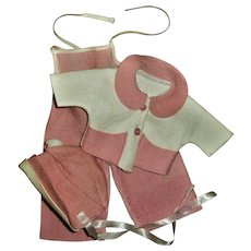 Vintage American Character Tiny Tears Pink Corduroy Overalls & Pink Felt Coat & Hat Set~NEAR MINT!!~