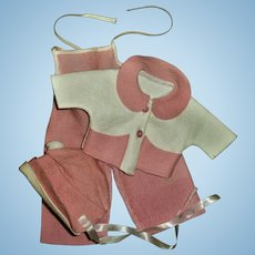 Vintage American Character Tiny Tears Pink Corduroy Overalls & Pink Felt Coat & Hat Set~NEAR MINT!!~