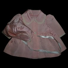 "Vintage Factory Silky Pink Taffeta Coat and Bonnet Set For 17""-18"" Baby Dolls"